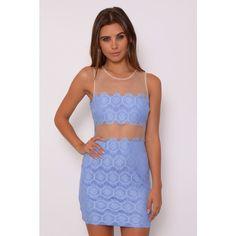 Rare London Cornflower Blue Lace Panel Mini Dress ($23) ❤ liked on Polyvore featuring dresses, blue keyhole dress, summer cocktail dresses, short dresses, lace insert dress and mini dress