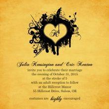 Grunge Black Monogram Halloween Wedding Invitation