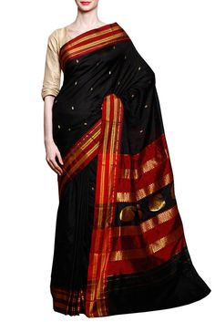Black Narayanpet Semi Paithani Silk Saree | Indofash Ethnic