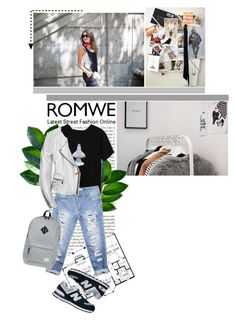 """""""Setting off. // Romwe Contest Entry."""" by martbee ❤ liked on Polyvore featuring Wet Seal, Barbara Bui, New Balance, Herschel Supply Co., contest, romwe and contestentry"""