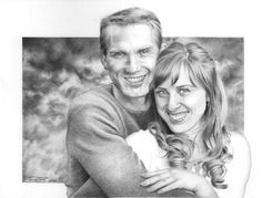 Pencil drawing of a couple. I like her hair.