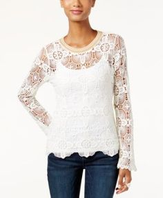 INC International Concepts Metallic-Trim Lace Sweater, Only at Macy's | macys.com