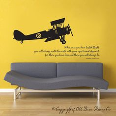 ANDY...  Airplane with flying quote...wall graphic lettering calligraphy vinyl decal sticker old barn rescue.