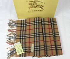 Burberry Nova Check Cashmere classic Scarf NIB camel 35 X 170 cm Cashmere Scarf, Scarf Styles, Women's Accessories, Camel, Burberry, Gift Wrapping, Fashion Scarves, Wool, Ebay