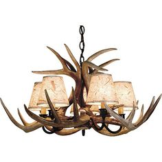 "Our classic yet rustic chandelier made from authentic antlers will illuminate any room with style. Features 5 painted shades and measures 24"" wide x 15"" tall.  *Drop ship item.  Please allow 7 10 days to ship. Shipping is not available to PO Boxes.*"