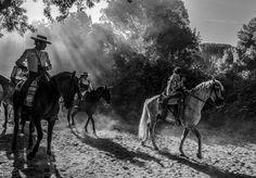 """""""EL ROCÍO"""", por Luis de Vega. Los alrededores del Coto de Doñana (Huelva) acogen cada año la celebración de la mayor romería de España, organizada desde hace siglos en honor a la Virgen del Rocío en una aldea de ese nombre del pueblo de Almonte. Más de cien hermandades llegan los días previos al Domingo de Pentecostés por diferentes caminos, algunos polvorientos como el de la Hermandad de Huelva que aparece en la foto, trasladando a cientos de miles de peregrinos a pie, a caballo o en…"""