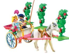 Playmobil Princess with Horse Carriage by PLAYMOBIL. $10.33. Includes 2 figures, horse, carriage and accessories; Figures can bend, sit, stand and turn their heads; Take the princess and her prince on a lovely horse carriage ride; Encourages children to explore and learn while having fun; Playmobil is the largest toy manufacturer in Germany. From the Manufacturer                Playmobil Princess with Horse Carriage: Take the princess for a ride on the Horse Carriage by Play...