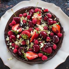 Dark chocolate, cherry and coconut cheesecake - Recipes - Eat Well with Bite - Food Shyte - Chocolate Cherry, Best Chocolate, Melting Chocolate, Chocolate Recipes, White Chocolate, Coconut Cheesecake, Cheesecake Recipes, Chocolate Cheesecake, Dessert Recipes