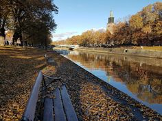 Aura River and the Colors of Autumn Aura River on a sunny autumn day. In the photo above, you can spot the tower of Turku Cathedral. Turku Finland, Autumn Day, Railroad Tracks, Cathedral, River, Colors, Photography, Photograph, Fotografie