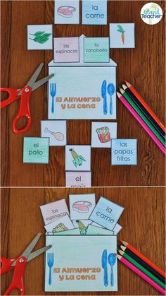 Hands-on activity for practicing Spanish Food Vocabulary. Great for interactive notebooks or to play as partner games.
