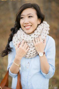 jumbo puff stitch cowl - free crochet pattern
