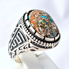 925 Sterling Silver Men's Ring with Real Neyshaburi Firoza Turquoise
