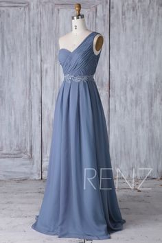 2017 Steel Blue Chiffon Bridesmaid Dress with Lace One by RenzRags