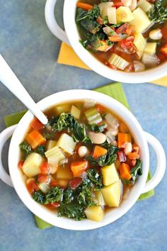 Vegetable Bean Soup is hearty and flavorful, made with potatoes, white beans, and kale. It's vegan, gluten-free, and oil-free, and easy to prepare. #vegetablesoup #soup #vegan #glutenfree #oilfree via @VeggiesSave