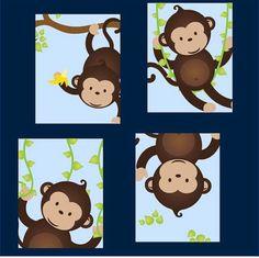 Affe Kunst Affen-Dekor Affe Kindergarten Kunst von LittlePergola
