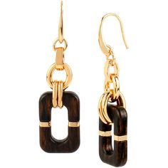 Diane von Furstenberg Geometric Wood Link Drop Earrings ($78) ❤ liked on Polyvore featuring jewelry, earrings, brown, evening earrings, wood earrings, evening jewelry, french hook earrings and holiday earrings