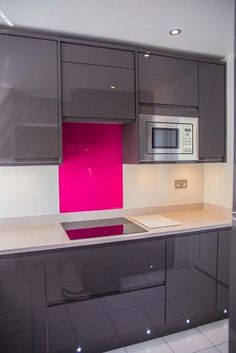 Image result for curved grey units pink splashback