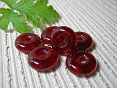 Handmade Beads for Jewelry, Beads for Crafts,Jewelry Making Supplies, Handmade Round Donut Beads - Set of 6, Cherry Red, Beads for Earrings, by IntheShadeoftheSycamoreTree, $8.00 USD