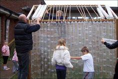 Construction details of Plastic Bottle Greenhouse, plastic flessen tuinkas constructie-detail