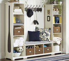 Day 25, Entryway Piece: Samantha Entryway Set, Set of 1 bench and 2 bookcases. #potterybarn