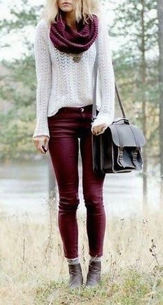 #fall #fashion / burgundy + white