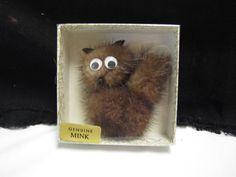 Mid Century Mink Cat Google Eye Pin Fur Kitty Brooch Hair Pin Rockabilly NMIB #Unbranded
