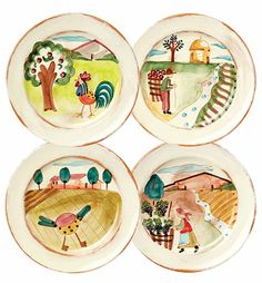 VIETRI - Toscana Assorted Dinner Plates - remind me of the handpainted mis-matched dinner plates at Camping Averno-Naples oh so many years ago