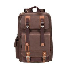 cde938b98ab4 Fafada Unisex Canvas Backpack Travel Rucksack College Bag Casual Travel  Hiking DaypacksCoffee7     You