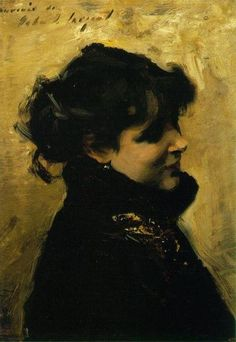 John Singer Sargent. Madame Errazuriz. c. 1880-02. The palette is so limited--mostly golds and black...and with just a few deft strokes a beautiful woman appears!