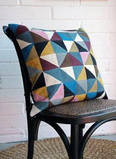Embroidered Geometric Harlequin Cushion by Nikki Jones