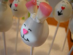 Easter Bunny cake pop smiling in a sunbeam.