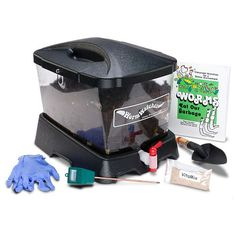 WormWatcher® Environmental Educator Kit • Brings hands-on, year-round activity into the classroom • Lockable and portable • Clear, indoor composter • Demonstrates how worms recycle food waste making healthy soil • Drains worm tea • Easy-to-clean chamber • Fast results can be seen in days to weeks • Book filled with hundreds of activity sheets • Certificate is provided for receiving 1/2 lb. of Red Wiggler Worms (sent on request).
