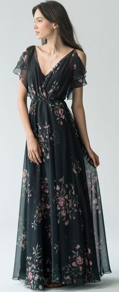 2ddeefd6fe8 Cassie Bridesmaid Dress in Black Cinnamon Rose Eden Bouquet Floral Print by  Jenny Yoo  winterwedding
