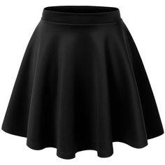 Vielonee TeeWomen's Basic Solid Versatile Stretchy Swing Mini Skater... ($28) ❤ liked on Polyvore featuring skirts, mini skirts, saias, bottoms, circle skirt, mini skirt, skater skirts, flared mini skirt and flared skirt