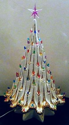 Ceramic Christmas Tree~Eames Era~Hollywood Regency White and Gold.