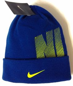 "NIKE CUFF BEANIE""Gym Blue""Yellow Swoosh Striped Winter Knit Hat Men/Women/Teen #Nike #Beanie"