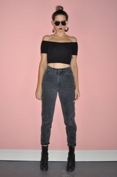 Vintage 80s High Rise Black Faded Denim Mom by WhiteCityVintage
