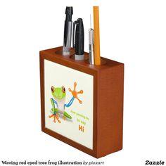 Waving red eyed tree frog illustration pencil holder