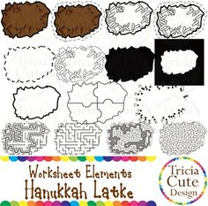 Glitter Jewish Hanukkah Chanukah Latke Worksheet Elements Clipart! Contained in the zip file are 15 PNG files with transparent background , 300dpi and high resolution.This set includes 2 colored images and 13 black and white images.They are great for creating worksheets for tracing, cutting, drawing, counting, puzzle, maze activities, etc.