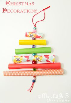Have fun with paper & beads making adorable homemade Christmas ornaments. Simple, pretty and great for children to enjoy making too!