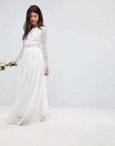 ba9759600086 ASOS EDITION Lace Long Sleeve Crop Top Maxi Wedding Dress at asos.com