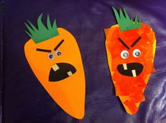 Creepy Carrots - with and without tissue paper. Change the eyes and make creepy carrot bookmarks?