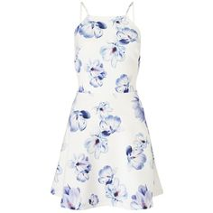 Ariana Grande For Lipsy Floral Frill Hem Skater Dress ($65) ❤ liked on Polyvore featuring dresses, vestidos, floral print dress, white day dress, ruffle hem dress, white floral dress and skater dress