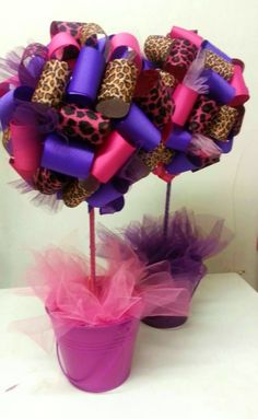 leopard and pink party decorations | Leopard Baby Shower Ribbon Topiary