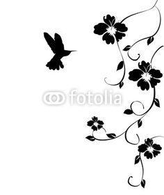 vector hummingbird and flowers