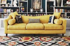 A living room outfitted with one of Solo Rugs' designs.