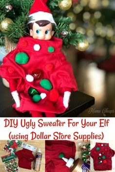 6d415beec00d DIY Ugly Sweater For Your Elf (Dollar Store Supplies. Christmas Snacks ...