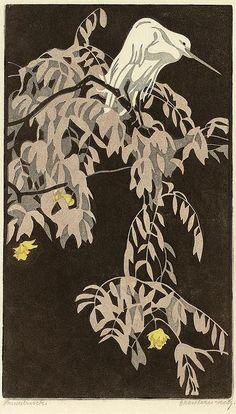 ✨  Norbertine v. Bresslern-Roth, Austria (1891-1978) - Reiher, 1924, Linolschnitt, Signiert rechts unten: Bresslern-Roth. Bezeichnet links unten: Handdruck. Betitelt Mitte unten: Reiher, 30,3 x 17,9 cm ::: Heron, Linocut print