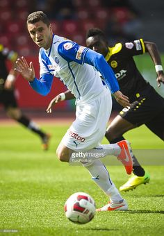 Grasshopper Club defender Sanel Jahic controls the ball during the Swiss Super League football match between Grasshopper Club and BSC Young Boys held at the Letzigrund stadion on May 4, 2014 in Zurich, Switzerland.