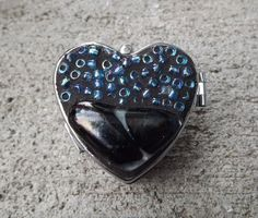 Mosaic Blue Heart Pill Box Beaded Heart Box by PiecesofhomeMosaics, $18.00